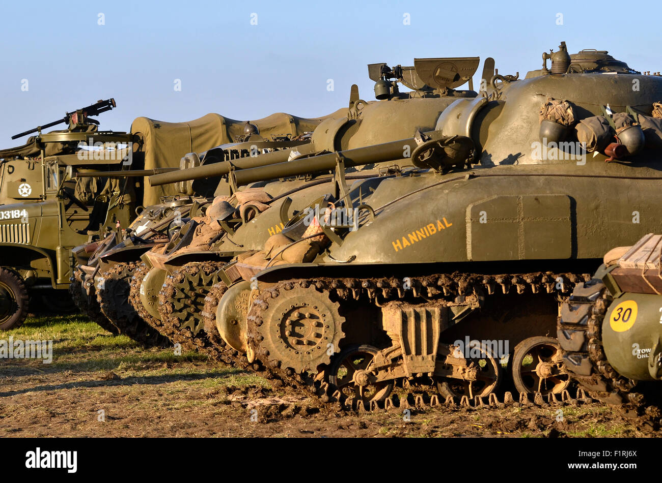 Us M4a1 Sherman Tanks Lined Up With M3 Stuart Tank And