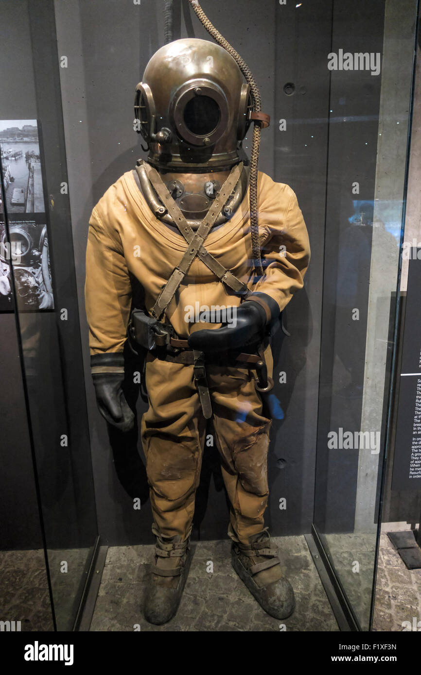 old diving suit at the vasa museum in stockholm sweden