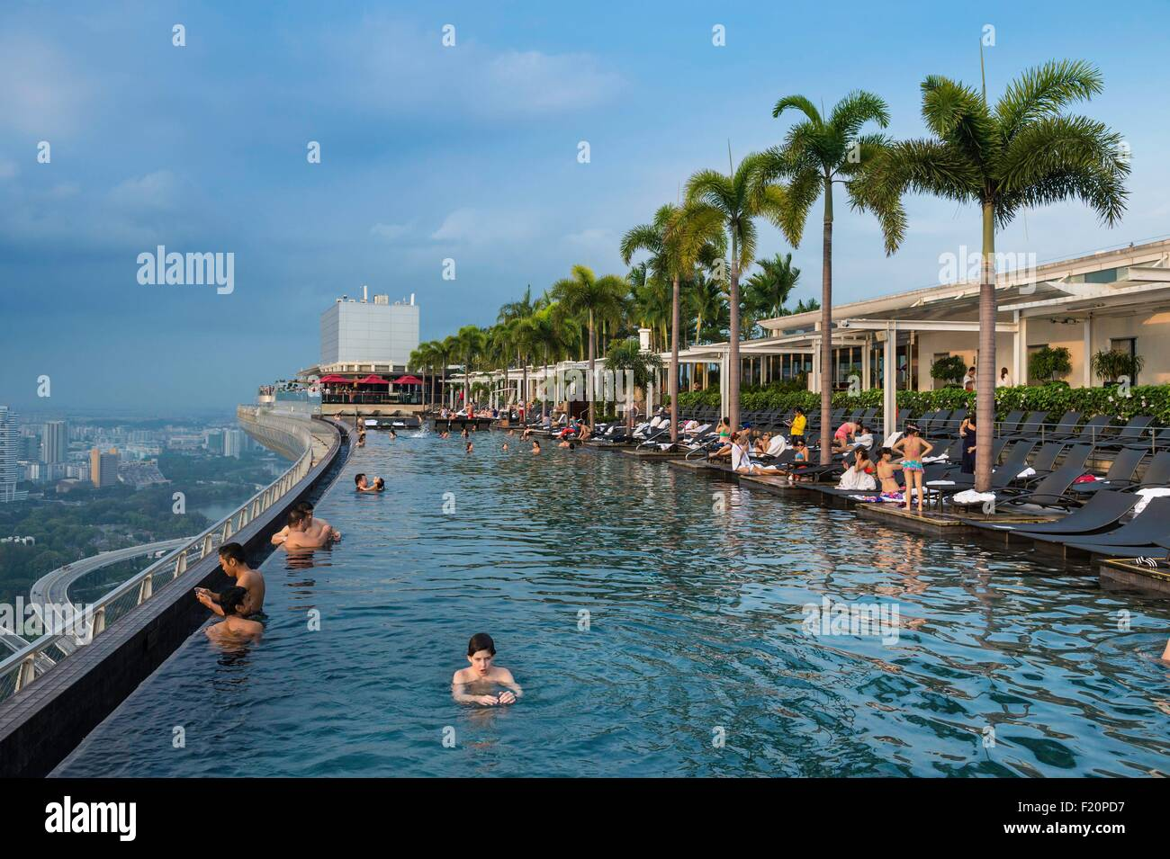 Singapore Marina Bay Swimming Pool On The Rooftop Of Marina Bay Stock Photo Royalty Free