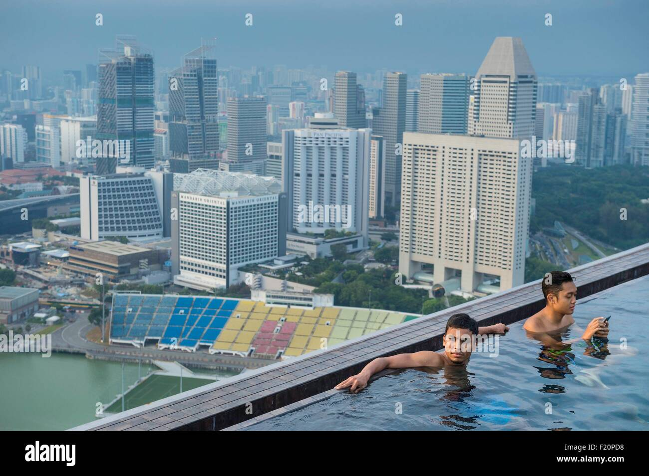Marina bay sands infinity pool singapore - Singapore Marina Bay Swimming Pool On The Rooftop Of