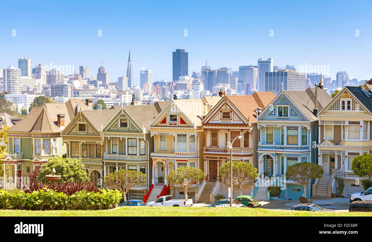 San Francisco Skyline With Painted Ladies Buildings At