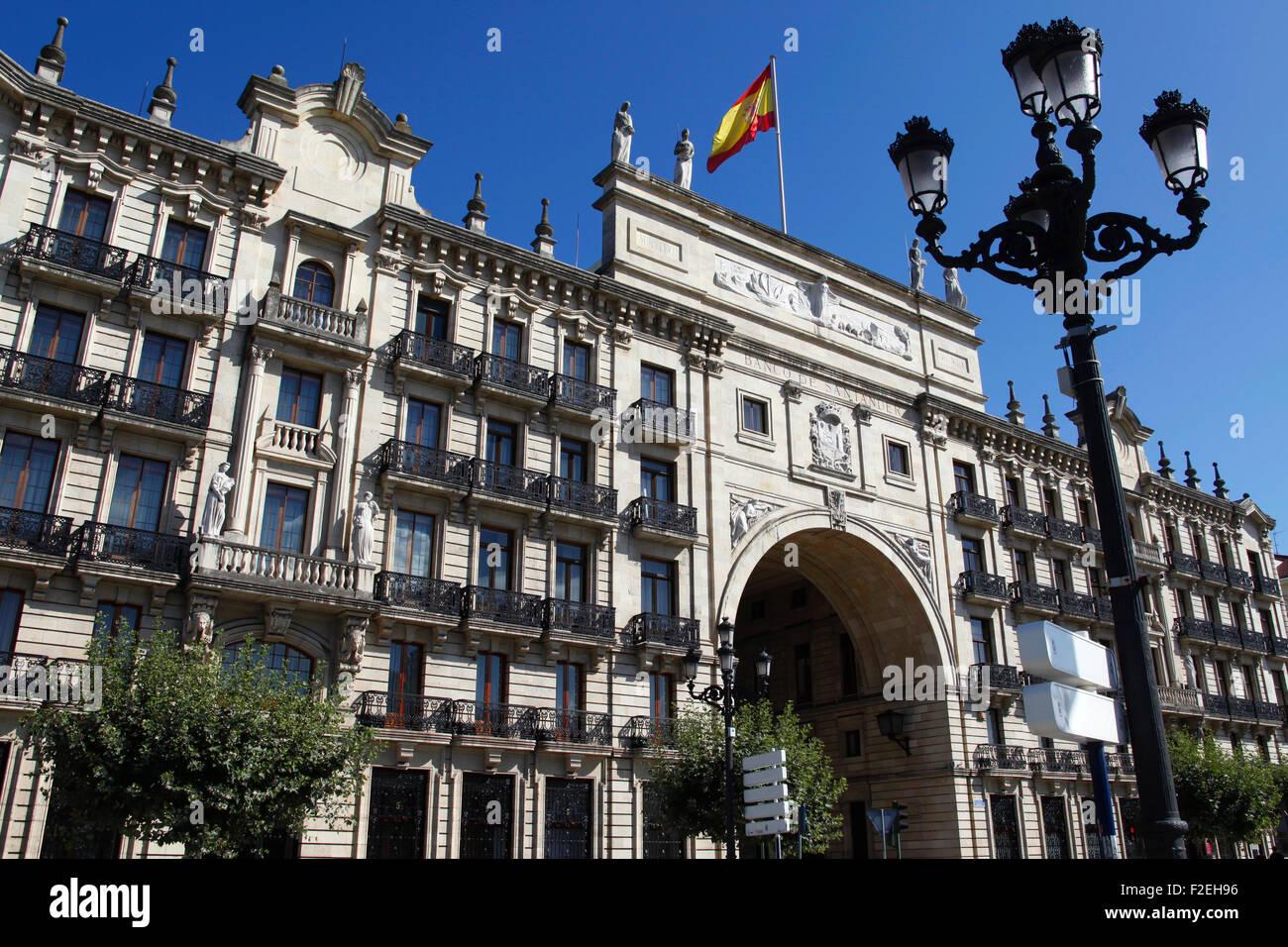 Banco de santander building in santander spain stock for Banco santander oficina central madrid