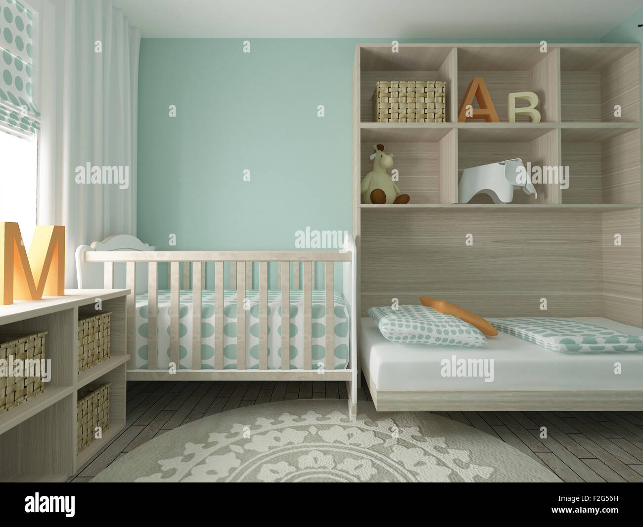 baby room, nursery, children's room, playroom, interior design, 3d Stock Photo, Royalty Free ...
