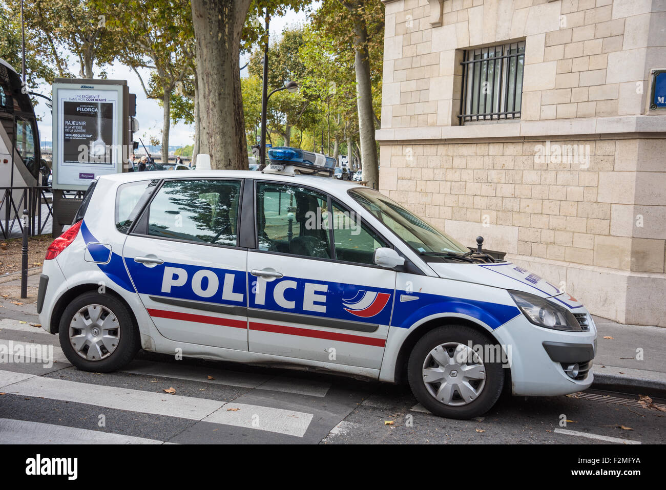 a french police car parked in a street in the european city of paris stock photo royalty free. Black Bedroom Furniture Sets. Home Design Ideas