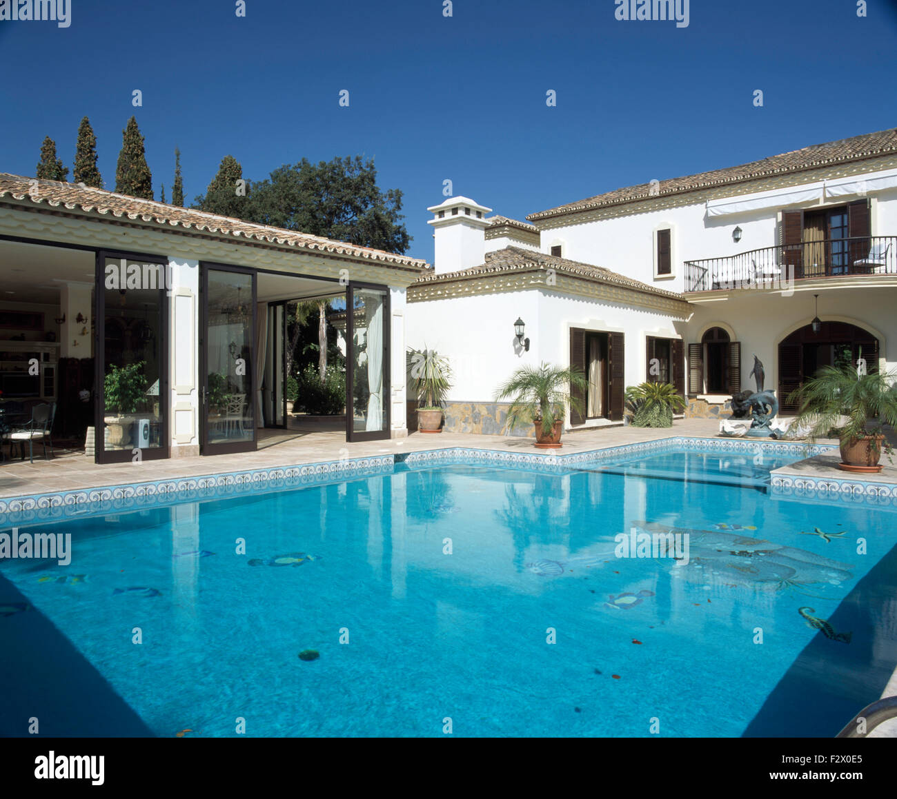 Turquoise Swimming Pool In Front Of Large Spanish Villa With Sliding Stock Photo Royalty Free