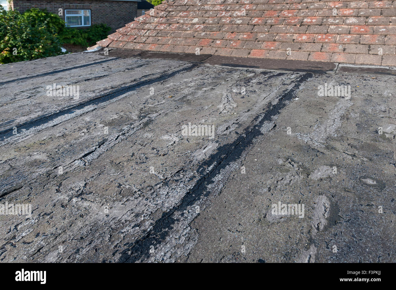 Failing And Deteriorating Flat Roof Cracked Up Opening