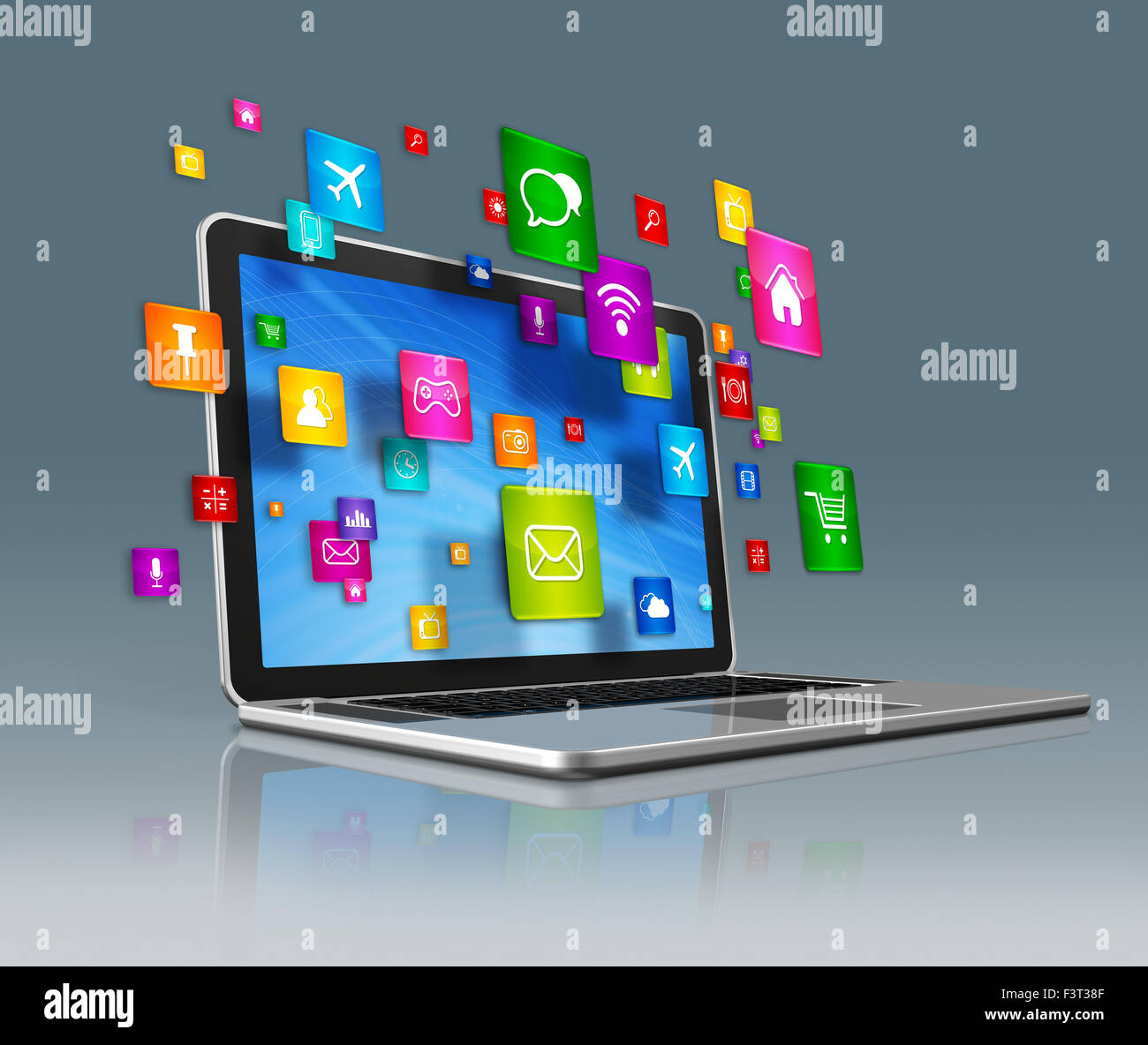 3d laptop computer with flying apps icons isolated on a
