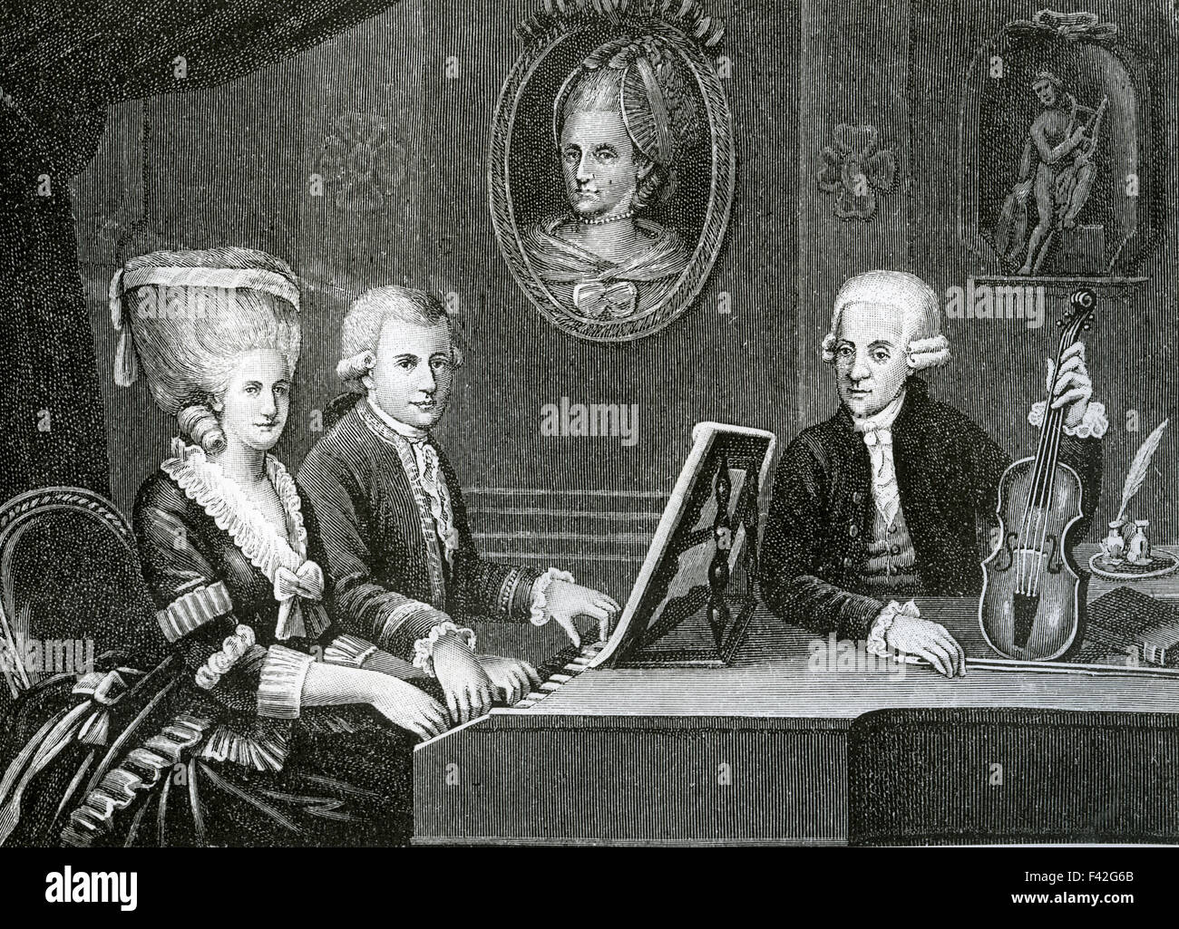 WOLFGANG AMADEUS MOZART family an engraving based on the ...
