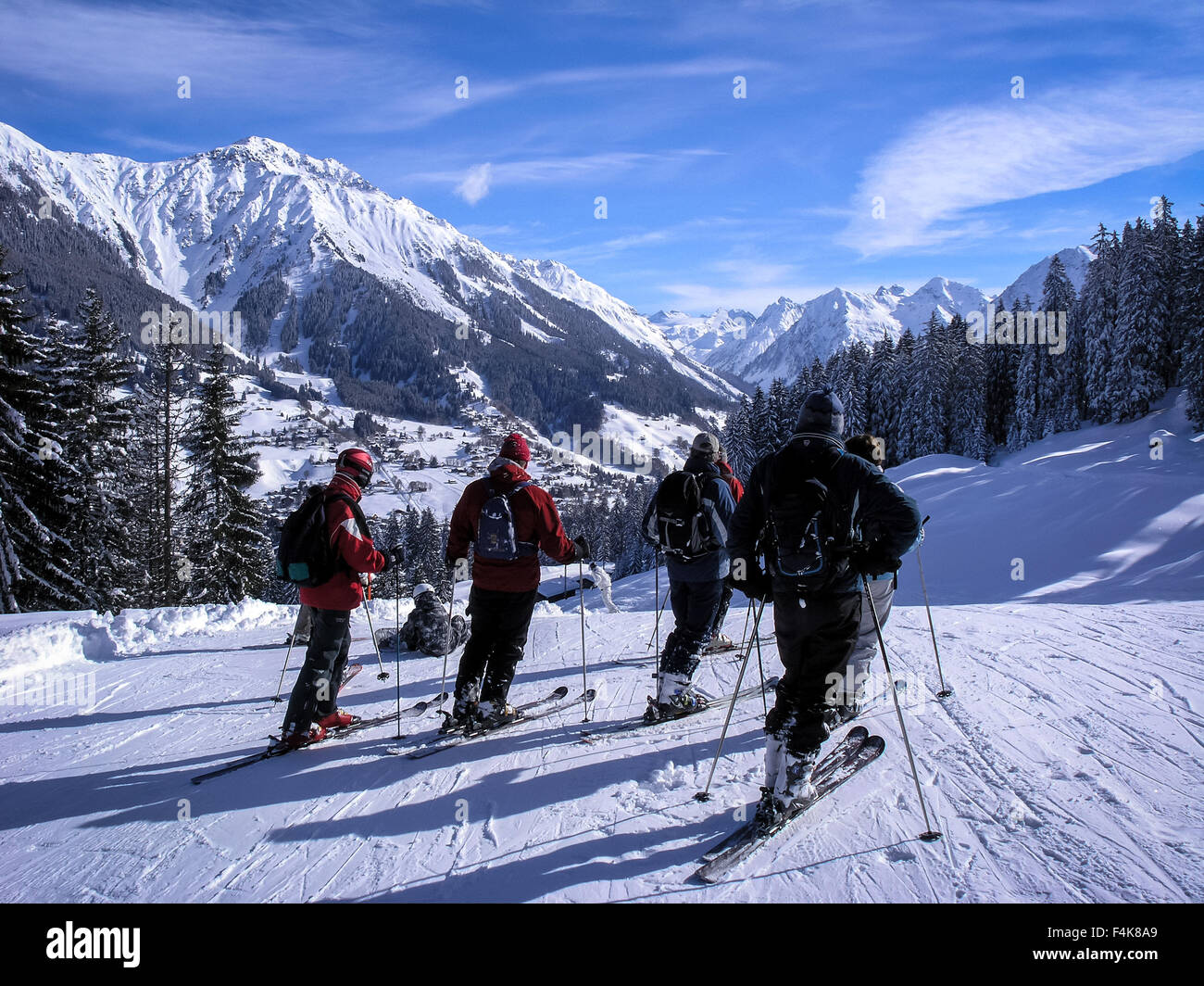 Skiing in Davos / Klosters resort, Switzerland Stock Photo
