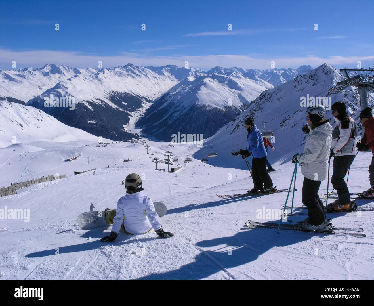 Skiing in Davos / Klosters resort, Switzerland Stock Photo