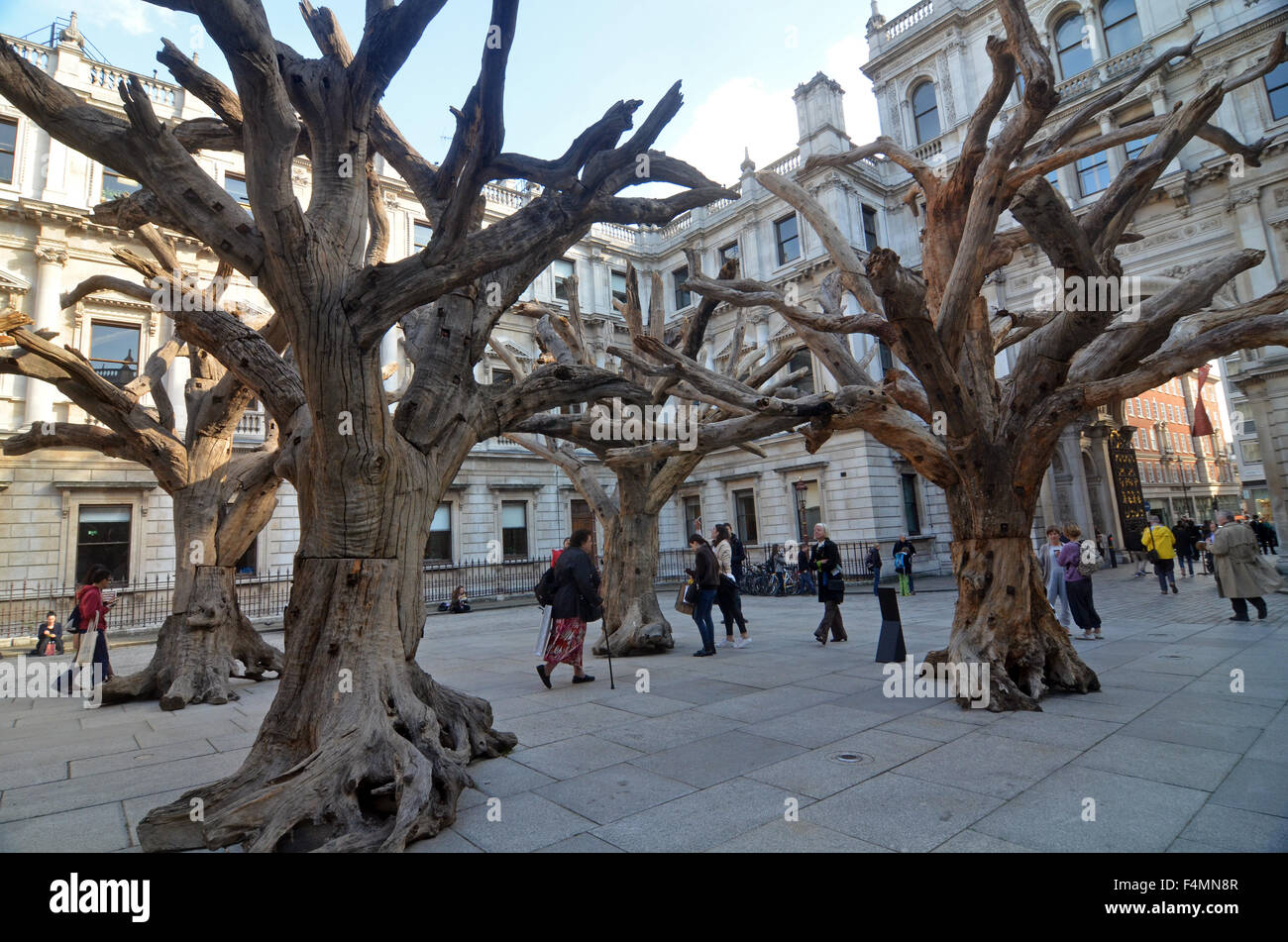 London uk october ai weiwei tree sculptures in