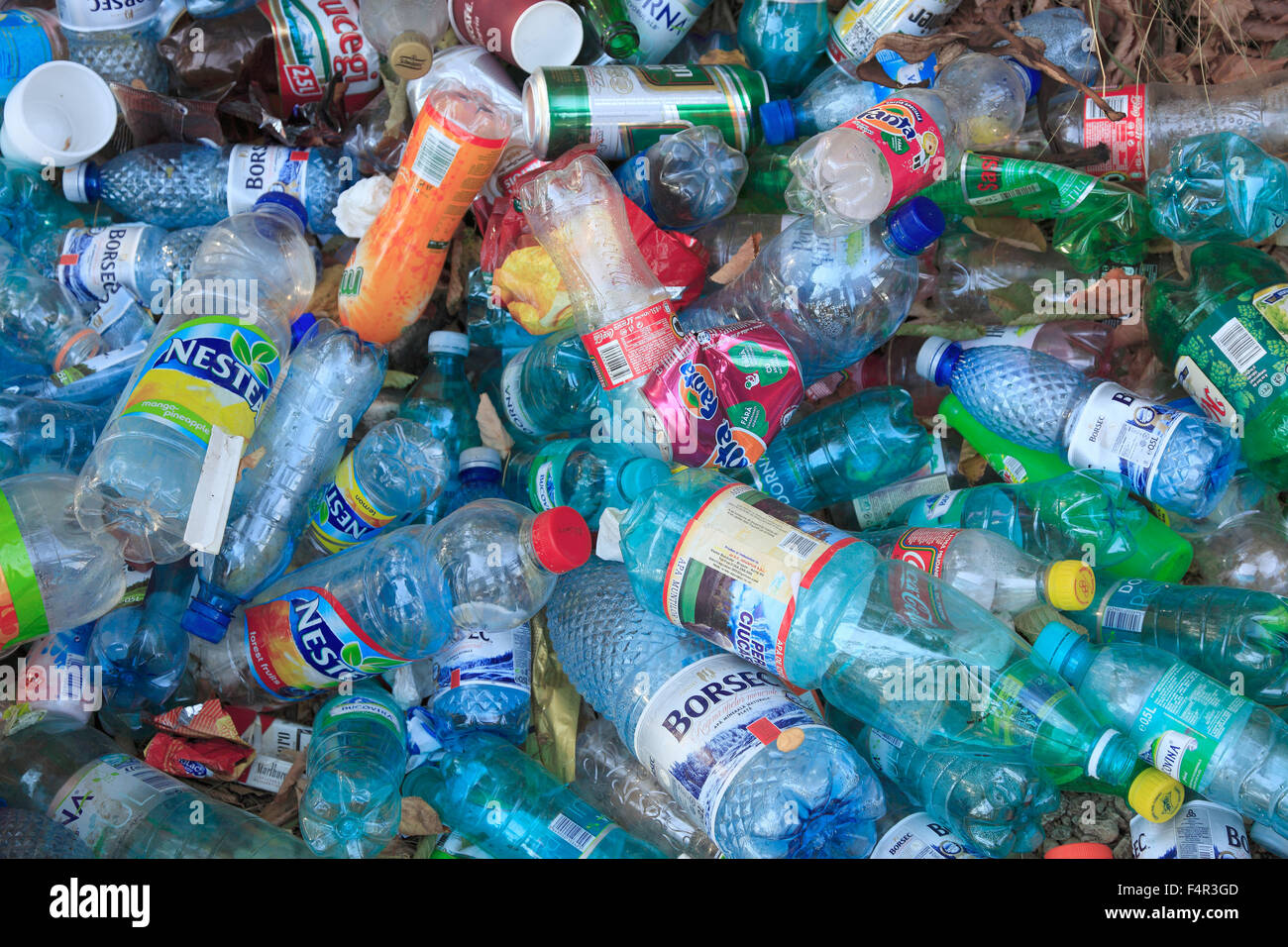 Plastic bottles pollution illegal waste disposal stock for Things made from waste plastic bottles