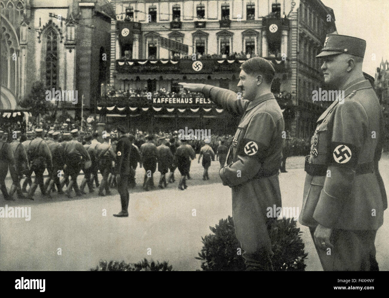 Adolf Hitler during a Nazi military parade in Leipzig, Germany Stock Photo
