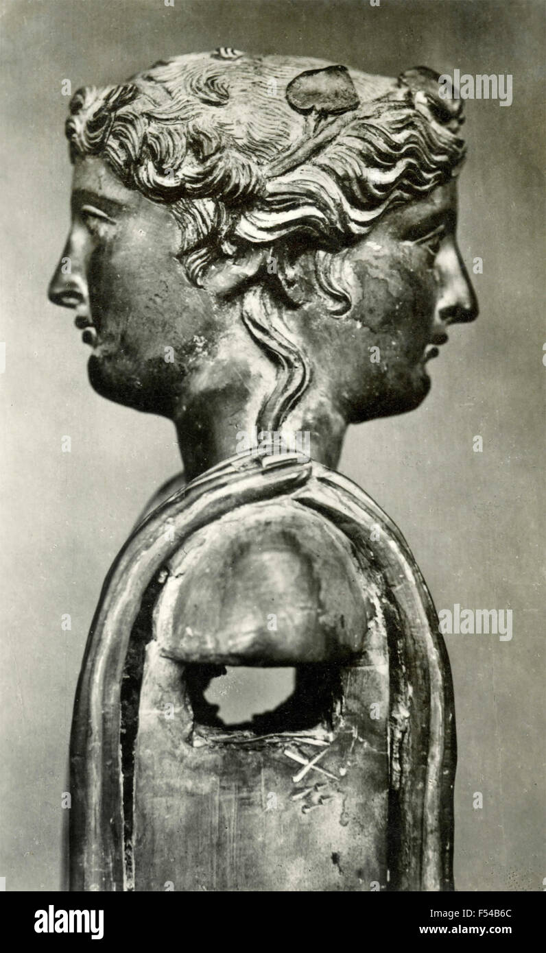 Two Faced Statue Of Janus Italy Stock Photo Royalty Free