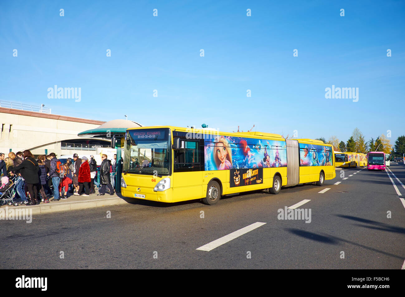 bus station disney village disneyland paris marne la vallee chessy stock photo royalty free. Black Bedroom Furniture Sets. Home Design Ideas
