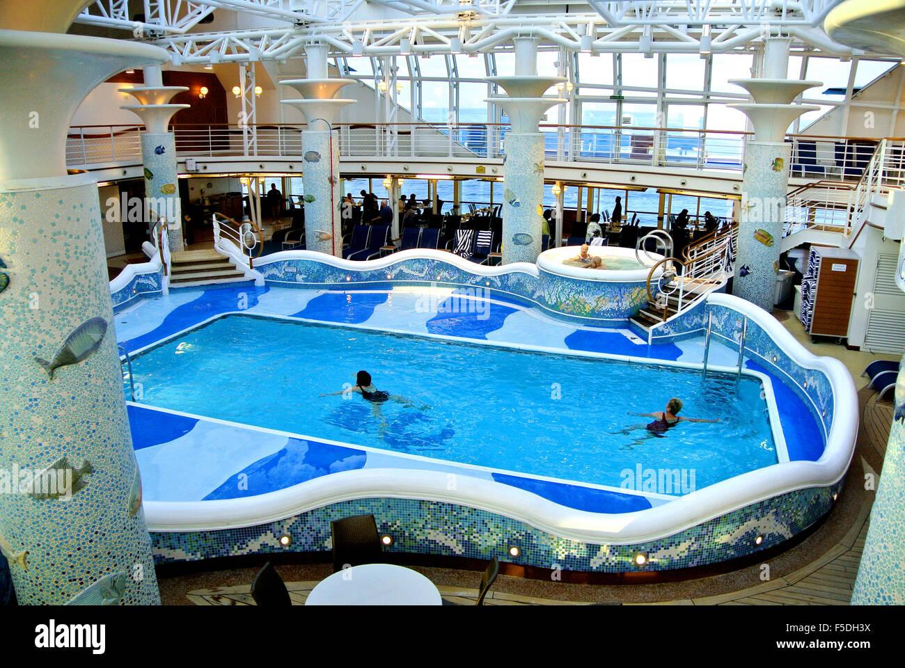 View Of Swimming Pool On Royal Princess Cruise Ship Stock Photo Royalty Free Image 89423934