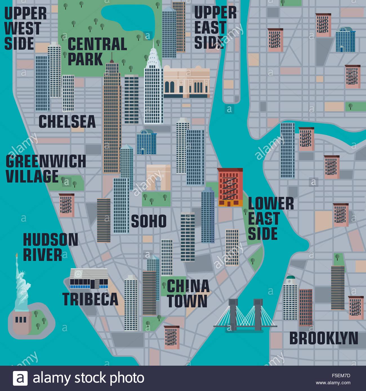 Illustrated map of Manhattan New York City