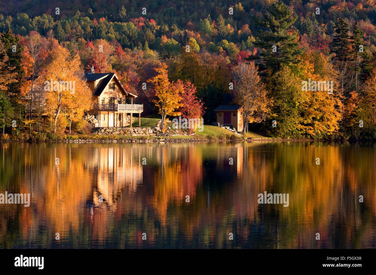 Lake House Autumn Sunset Vermont New England Usa See