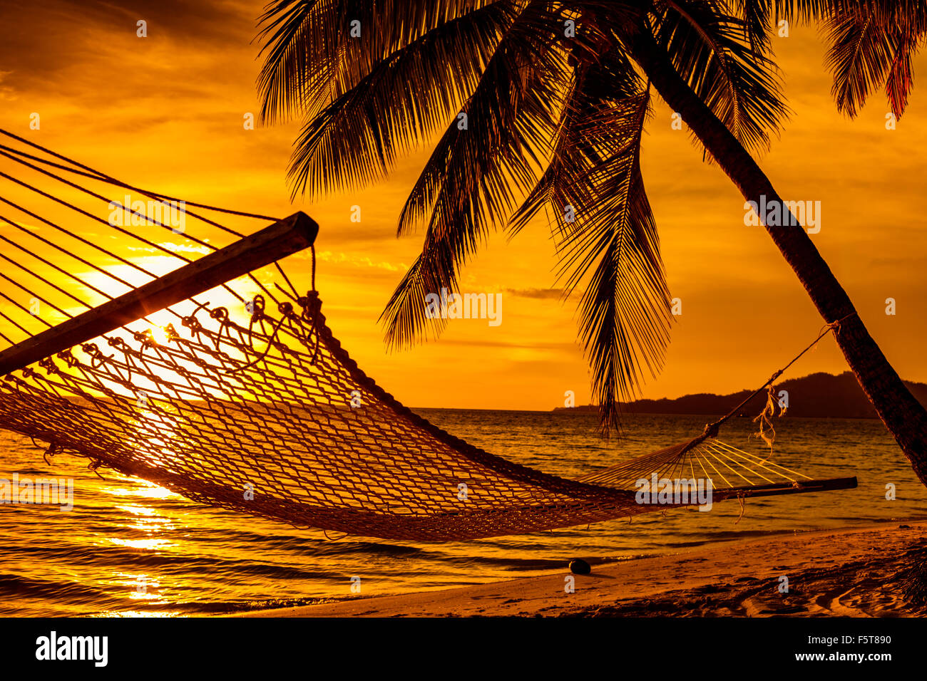 Silhouette Of Hammock And Palm Trees On A Tropical Beach