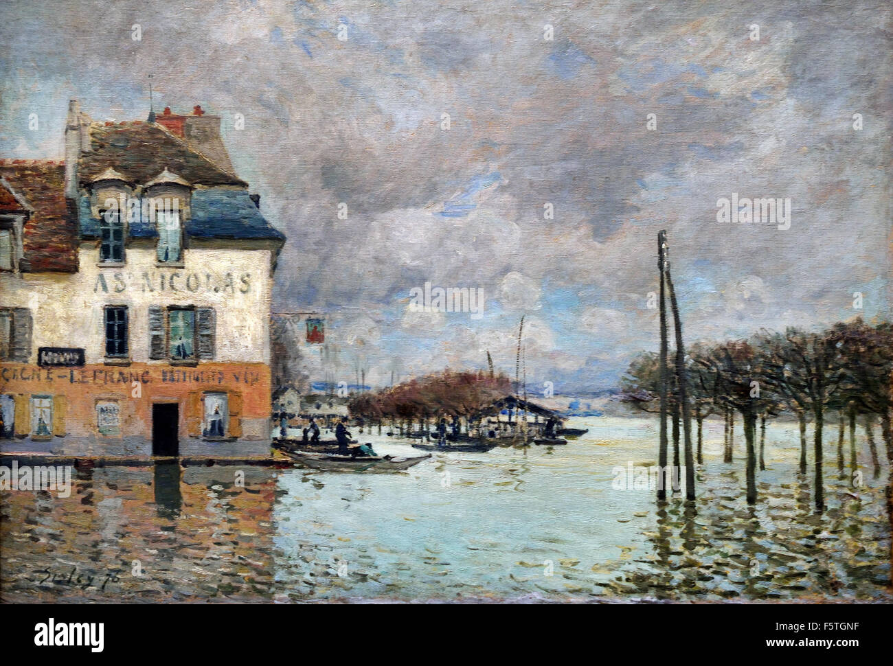 l 39 inondation port marly flooding in port marly 1876 alfred sisley stock photo royalty free. Black Bedroom Furniture Sets. Home Design Ideas