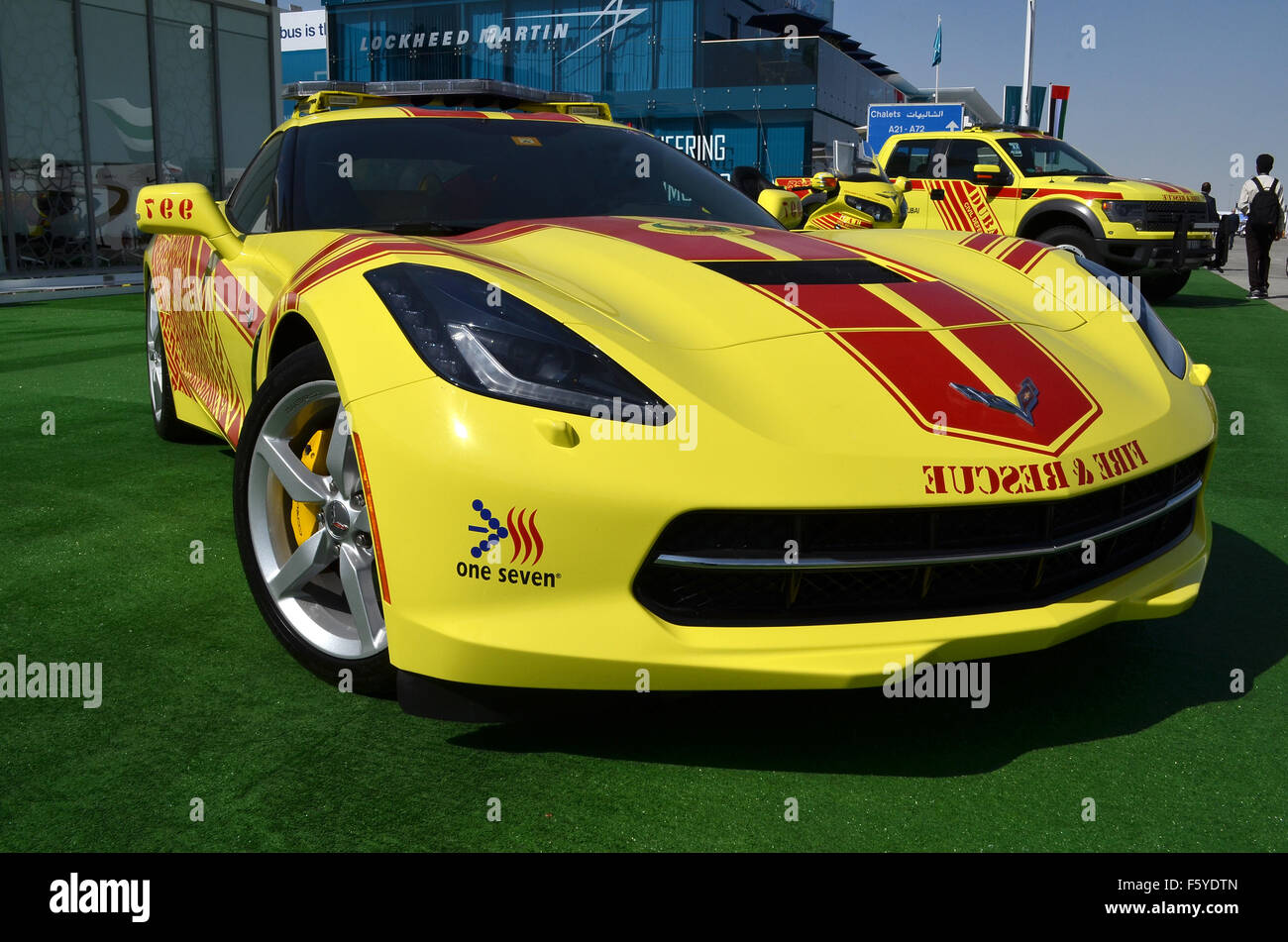 Dubai, UAE. 10th November, 2015. Hot Rod: Dubai Civil Defence are using a brght yellow V8-powered Chevrolet Corvette Stock Photo