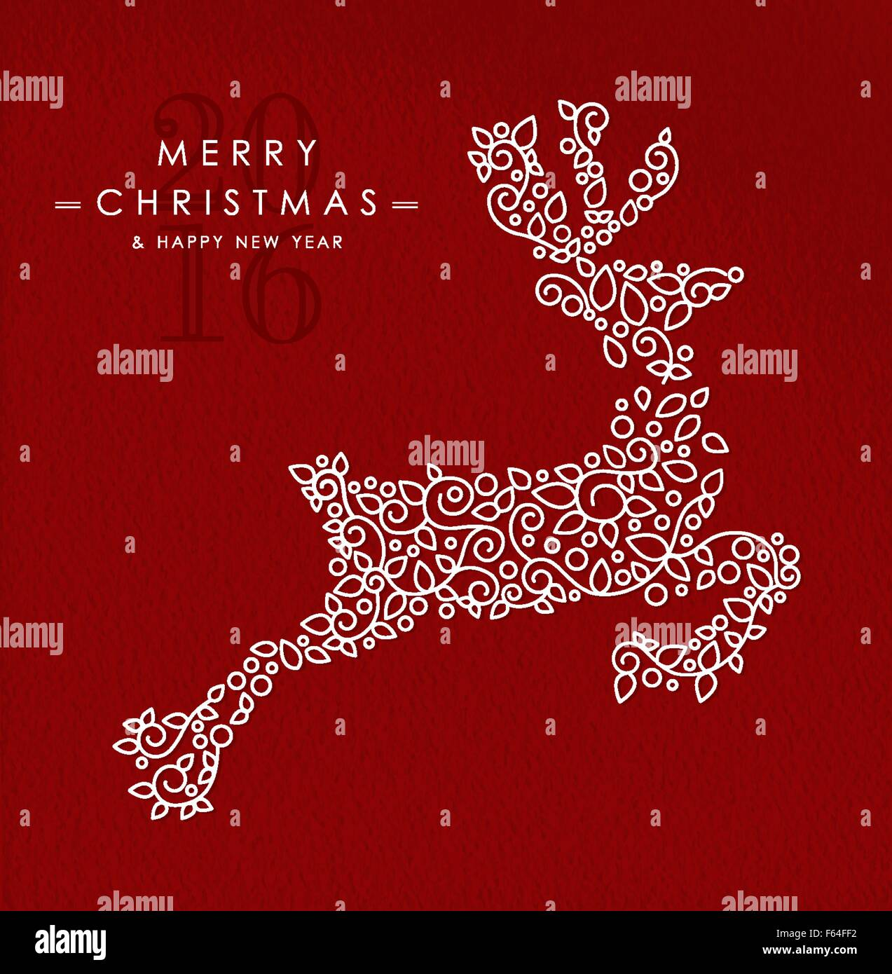 Merry christmas happy new year 2016 greeting card for Wildlife christmas cards 2016