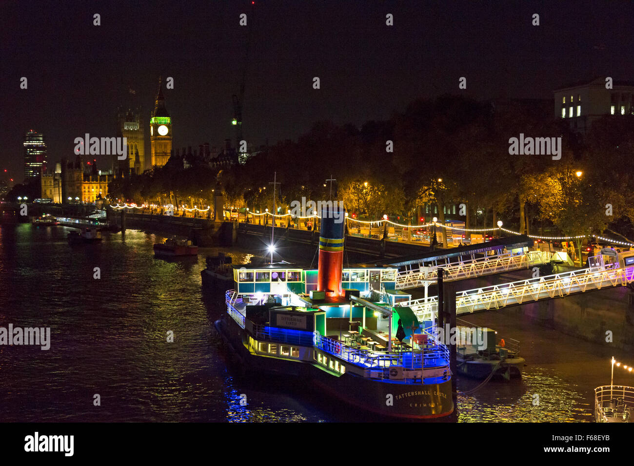 Restaurant and bar 'Tattershall Castle' moored on the Thames at Victoria Embankment, London Stock Photo