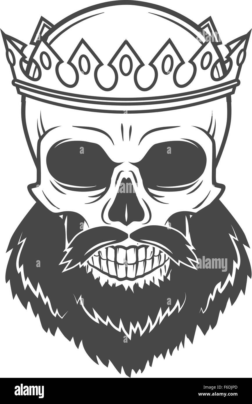 Bearded Skull King With Crown Vintage Cruel Tyrant Portrait Design Stock Photo, Royalty Free