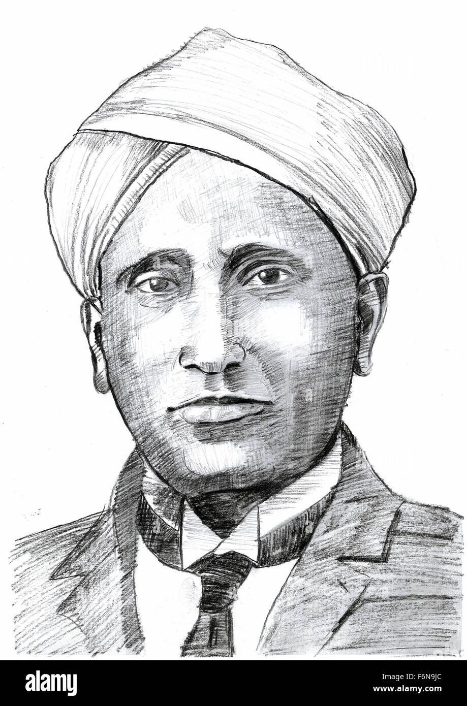 sir chandrasekhara venkata raman sketch  india  asia stock