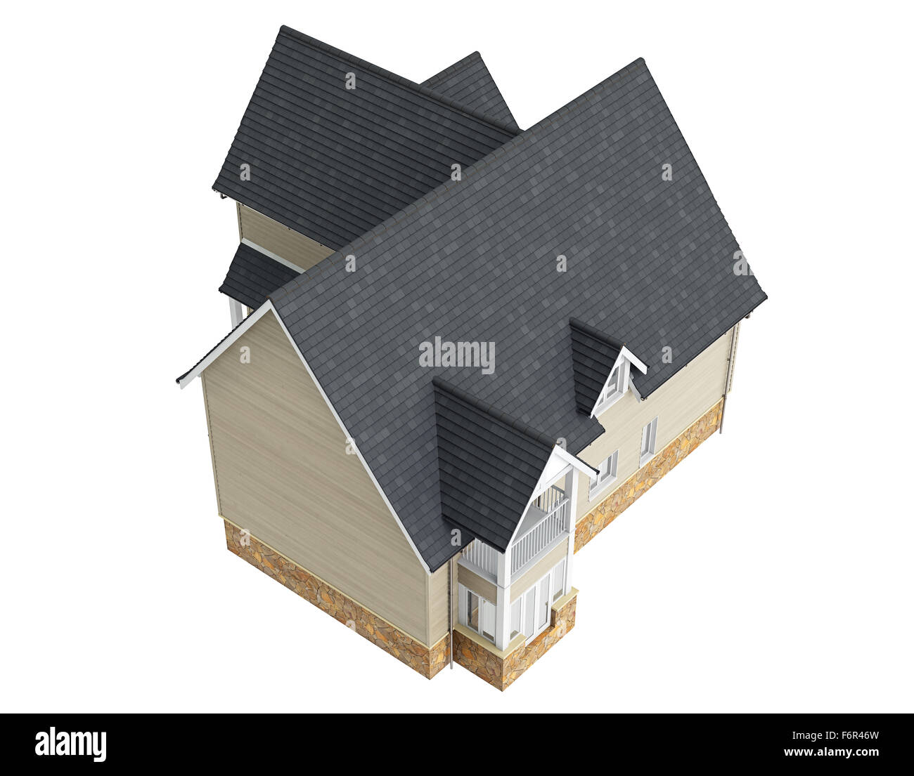Wooden house with tile roof top view stock photo royalty for House design top view