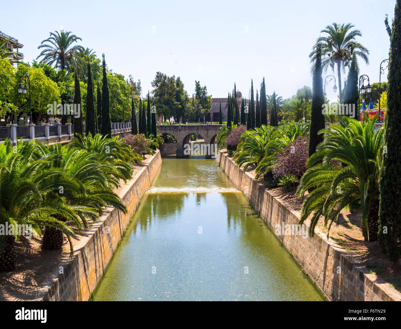 Spain, Mallorca, Palma de Mallorca, City canal Sa Rierra, Porta de Santa Catalina Stock Photo