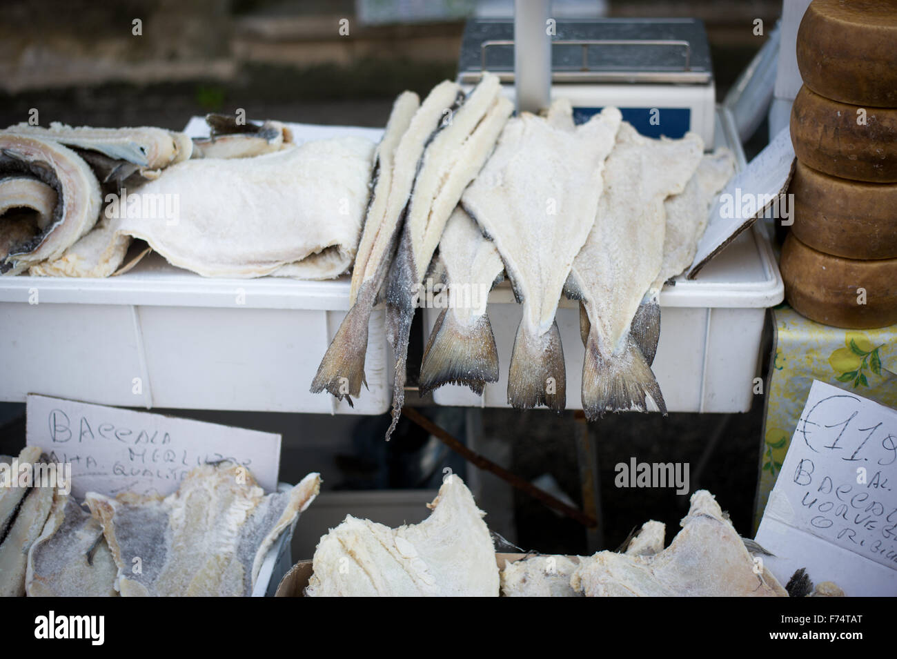 Salted fish for sale in italian market stock photo for Stock fish for sale