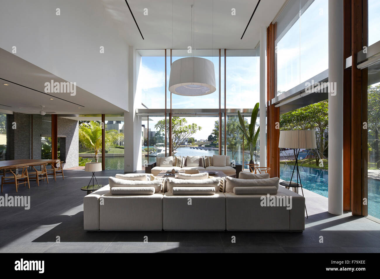 Open Plan Double Height Living Room In Cove Way House Sentosa Stock Photo Royalty Free Image
