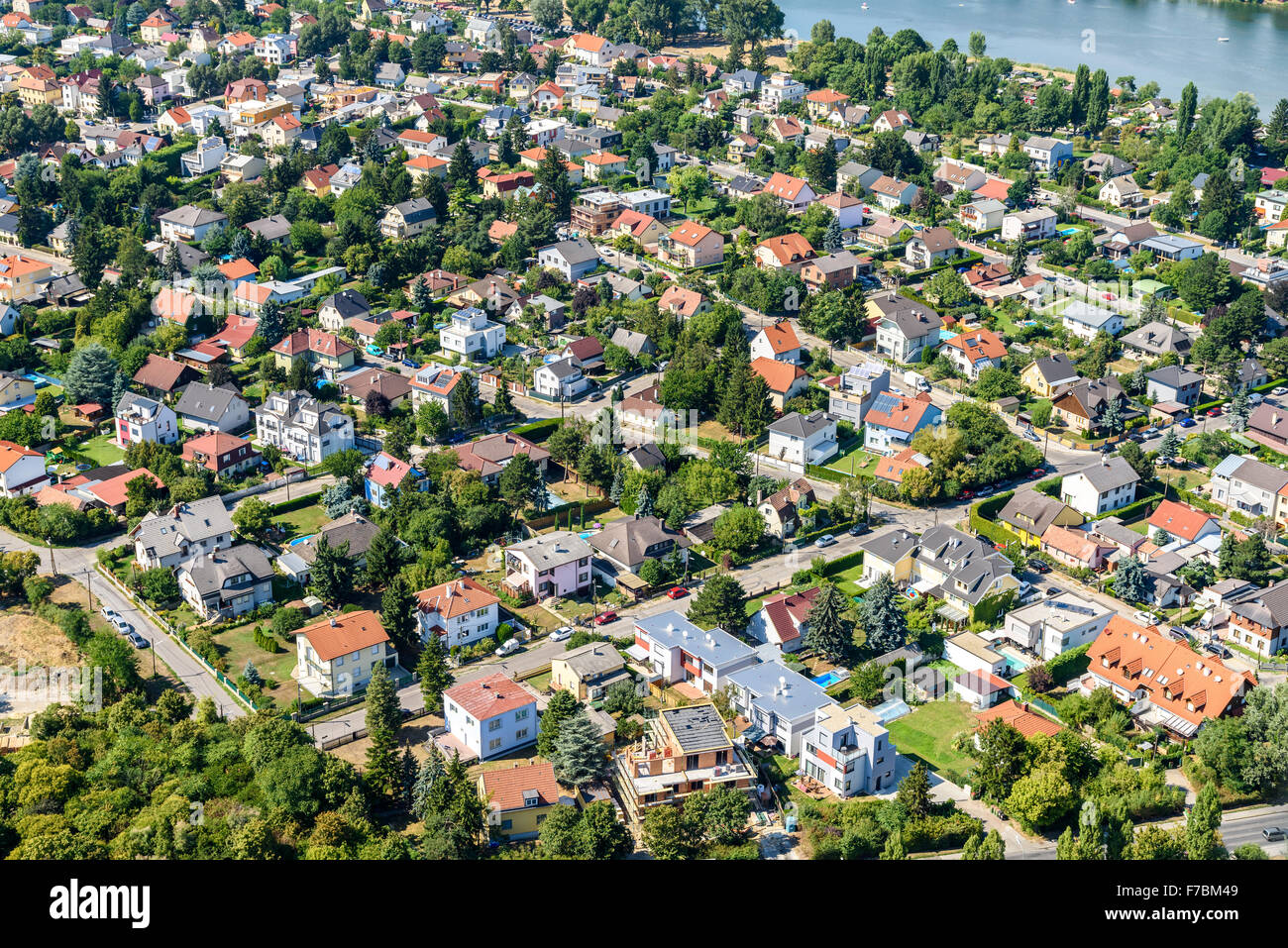 Aerial view of suburbs roofs in vienna austria stock for Landscapers adelaide western suburbs