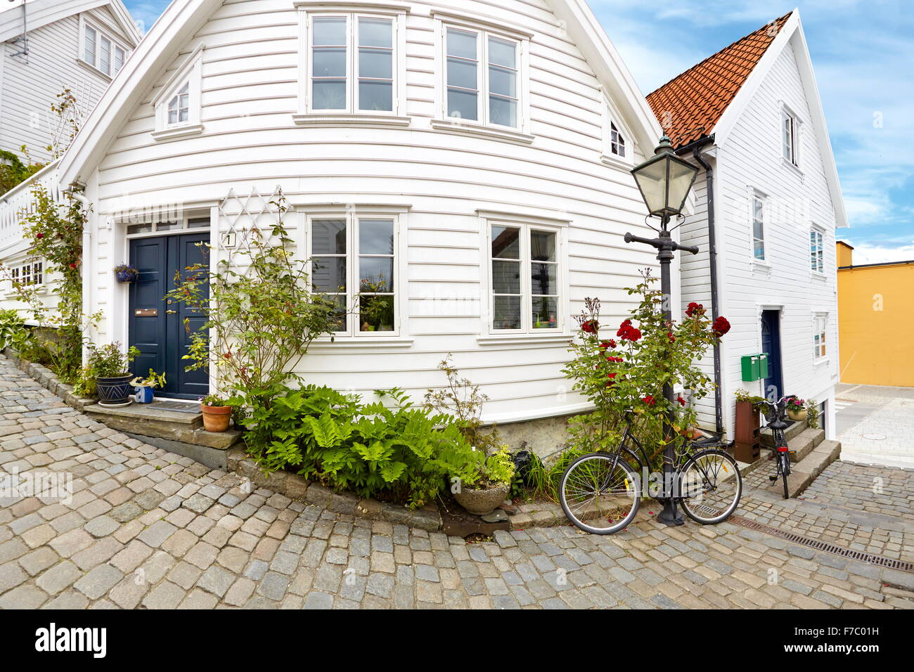 Traditional wooden houses in stavanger norway stock photo for Norway wooden houses