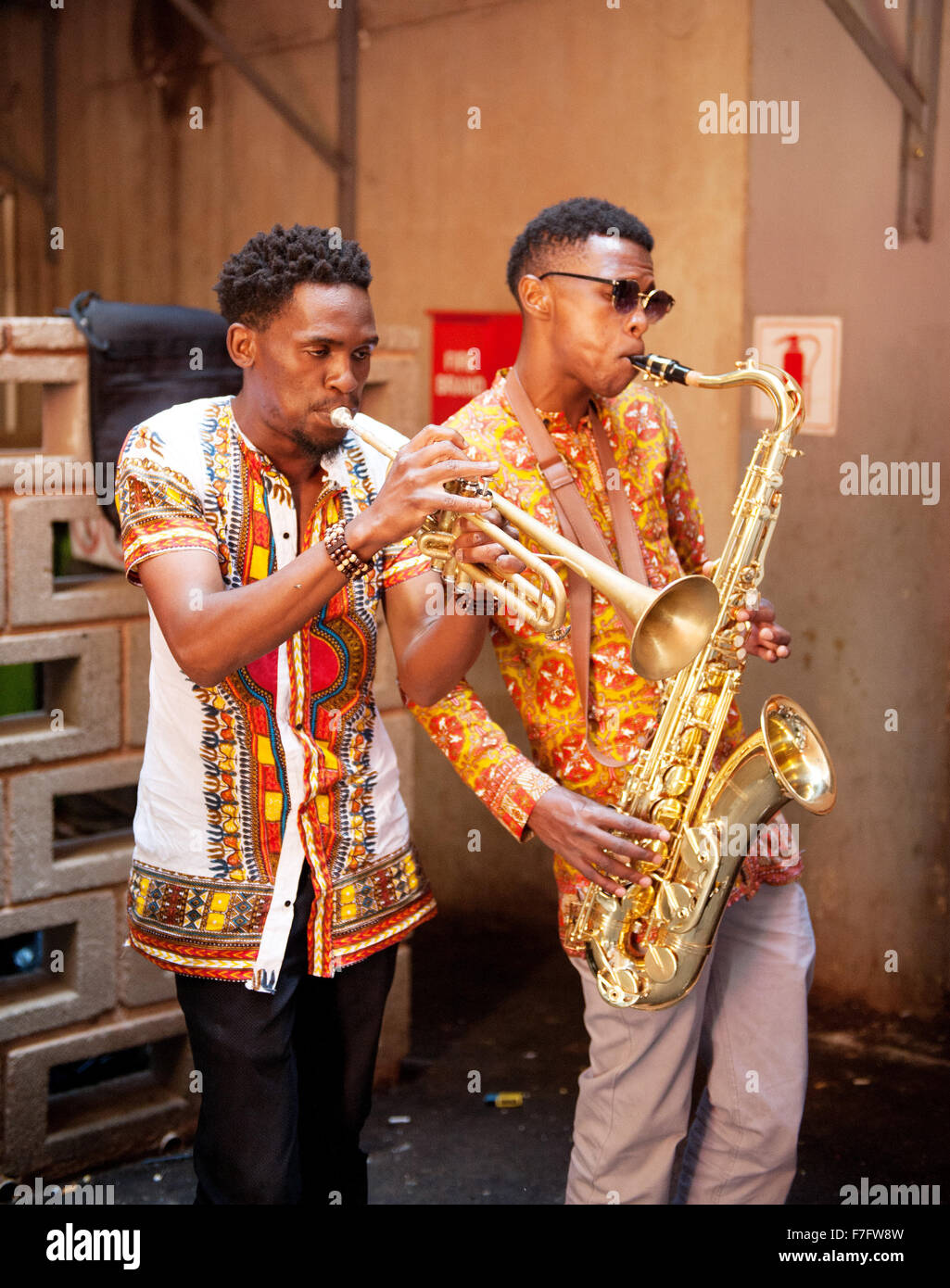 An african jazz band performs at neighbourgoods market in for African cuisine braamfontein