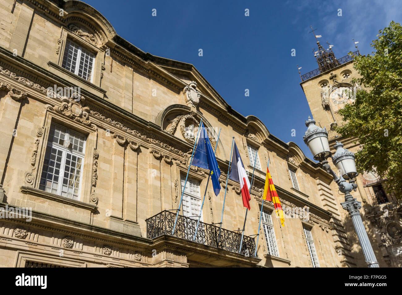 Town Hall, Hotel de Ville, Clock Tower, Aix-en-Provence, Bouche du Rhone, Provence, France Stock Photo