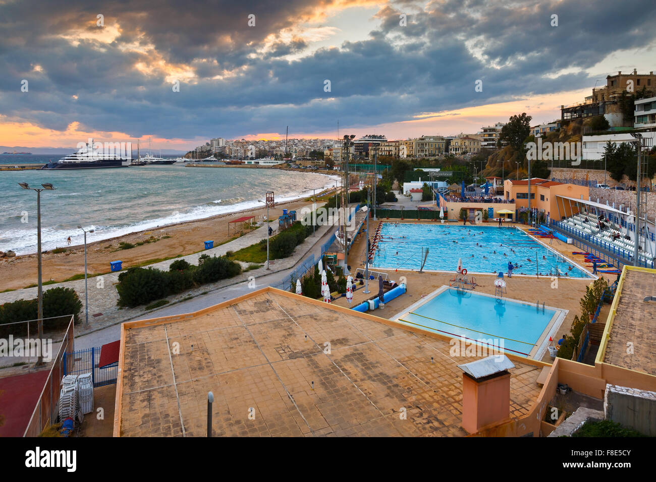 View Of The Municipal Swimming Pool In Piraeus And Mouth Of Zea Stock Photo Royalty Free Image