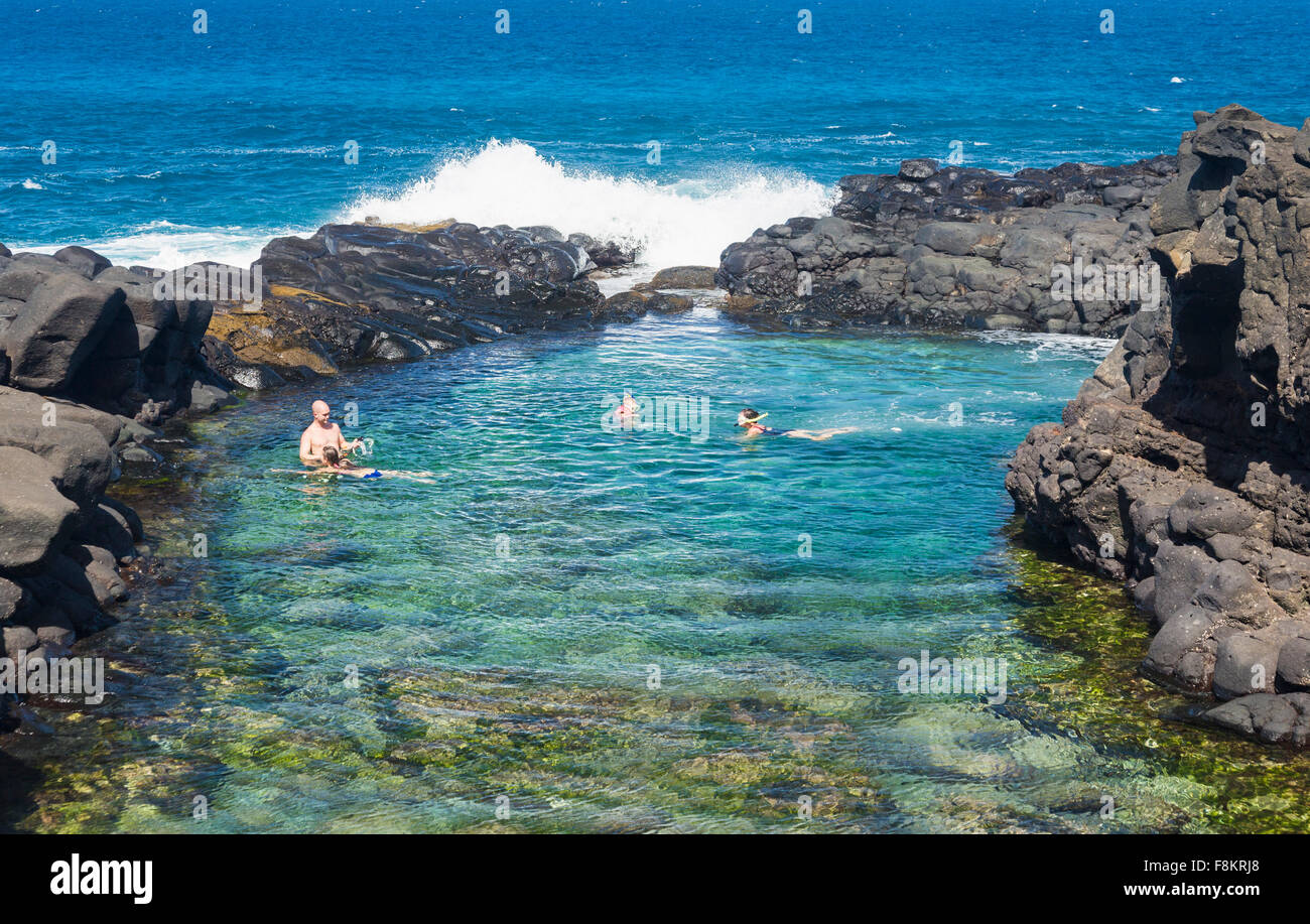 Tourists Snorkeling And Swimming In Queens Bath Tide Pool Near Stock Photo Royalty Free Image