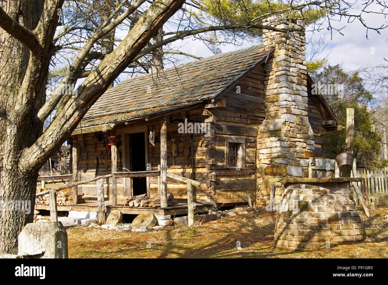 Old Log Cabin At The Museum Of Appalachia Tennessee Usa