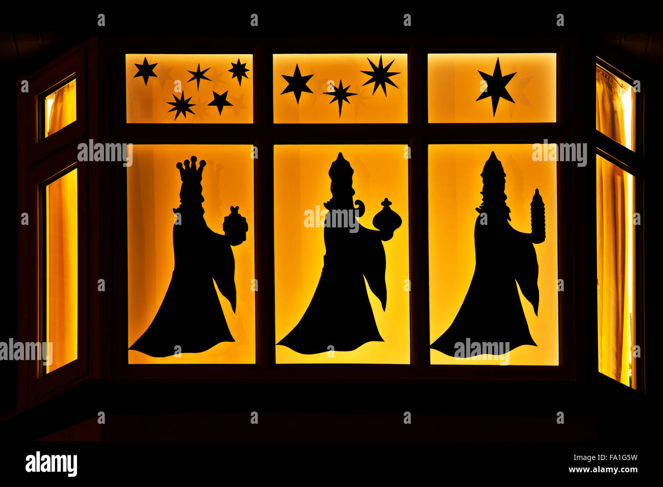 Festive christmas house window display three wise men for 30 lighted nativity christmas window silhouette decoration