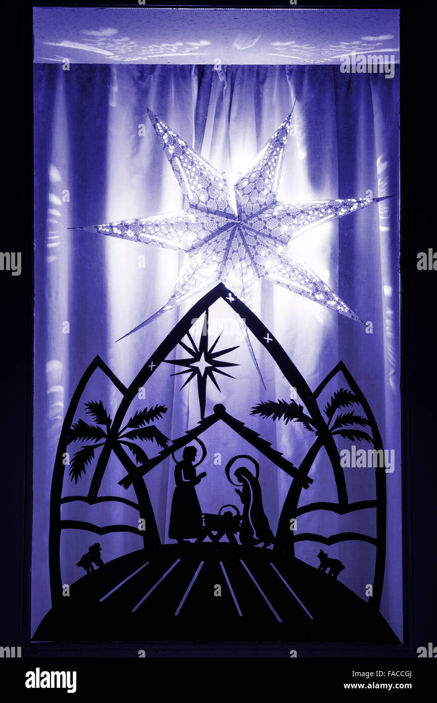 Festive christmas house window display nativity scene for 30 lighted nativity christmas window silhouette decoration