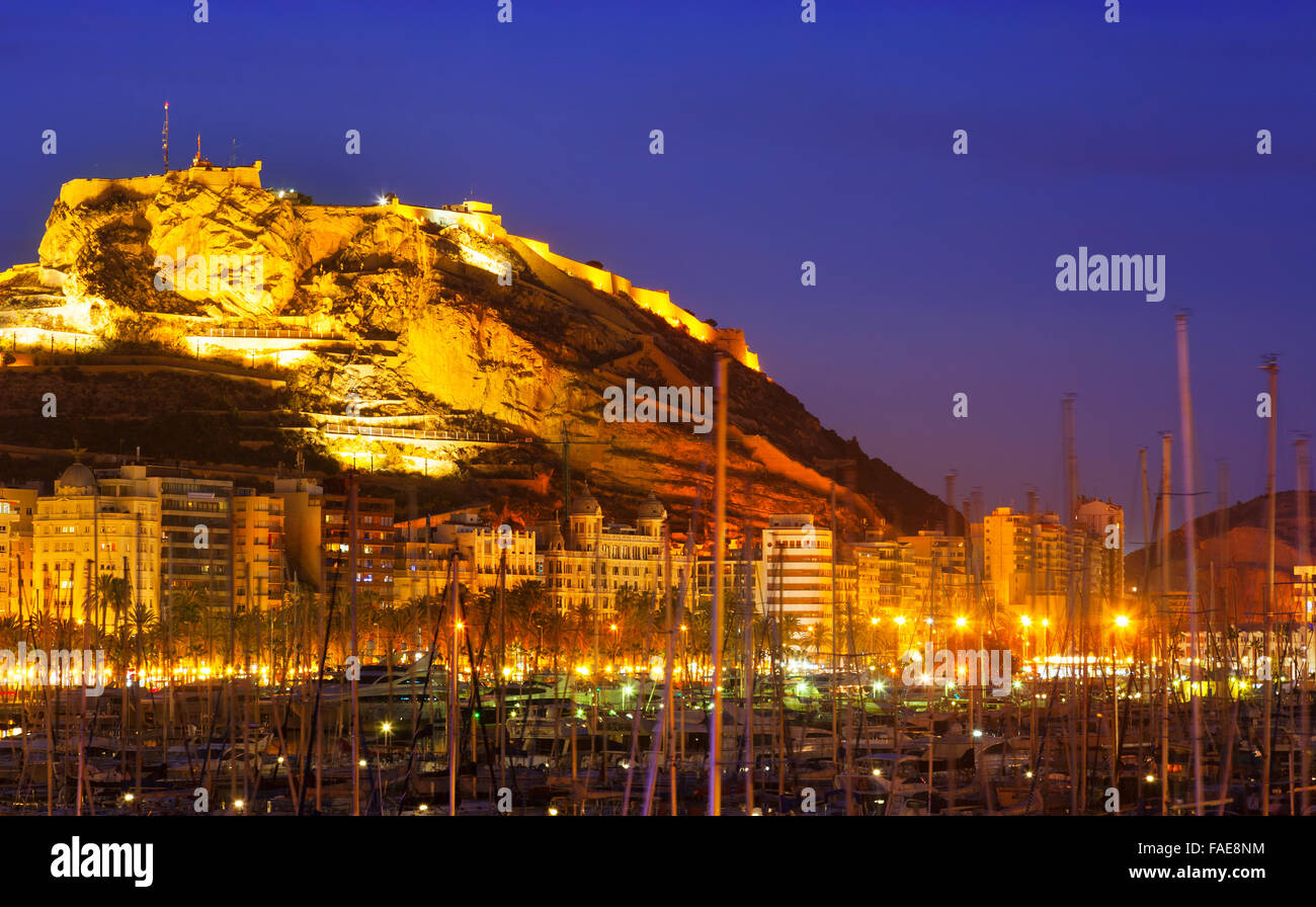 Mediterranean port with yachts against castle of santa - Stock uno alicante ...