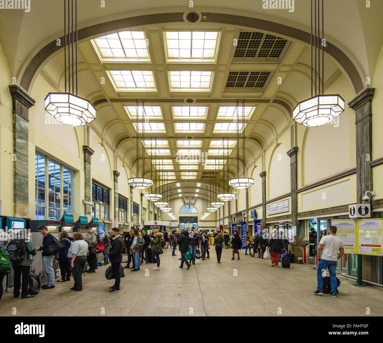 Art deco interior of cardiff central railway station in for Art deco train interior