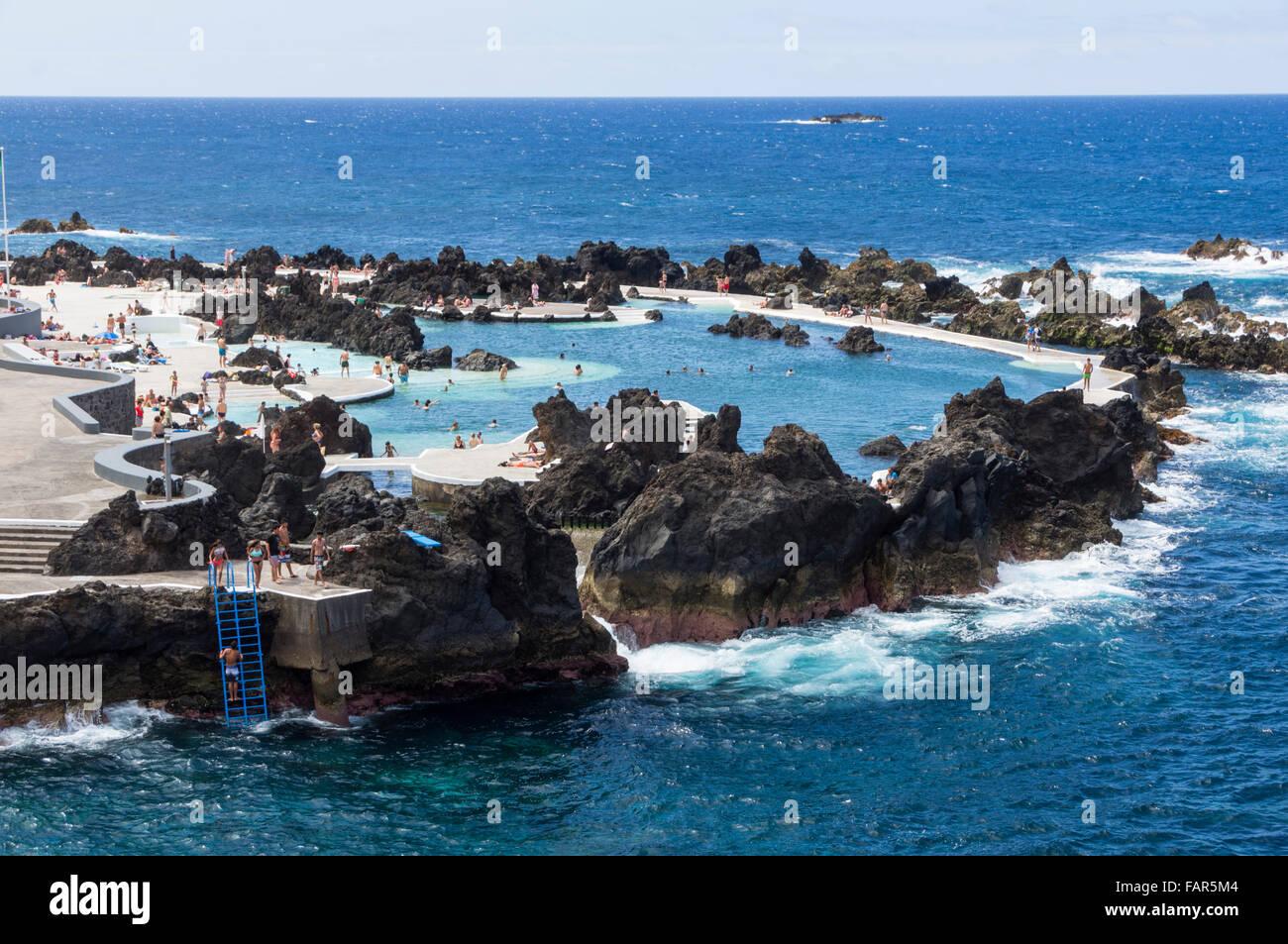 Madeira Porto Moniz Natural Lava Sea Swimming Pools In The Rocks Stock Photo Royalty Free