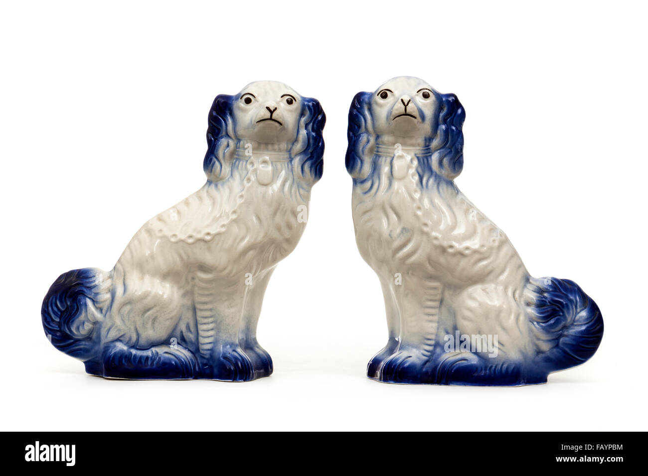 Pair Of Vintage King Charles Cavalier Spaniel Blue Amp White
