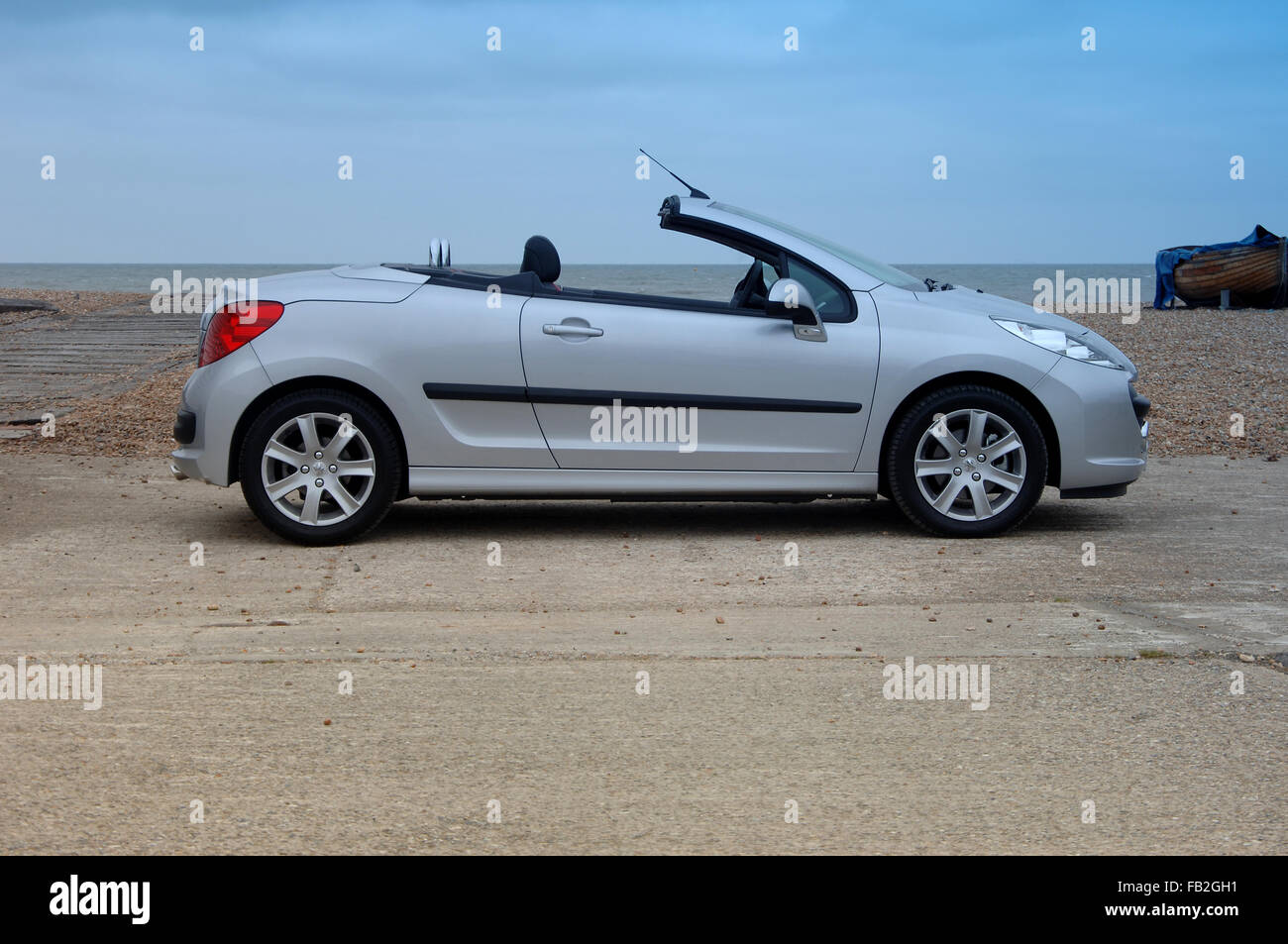 peugeot 206 cc coupe convertible open top car with folding metal stock photo royalty free. Black Bedroom Furniture Sets. Home Design Ideas