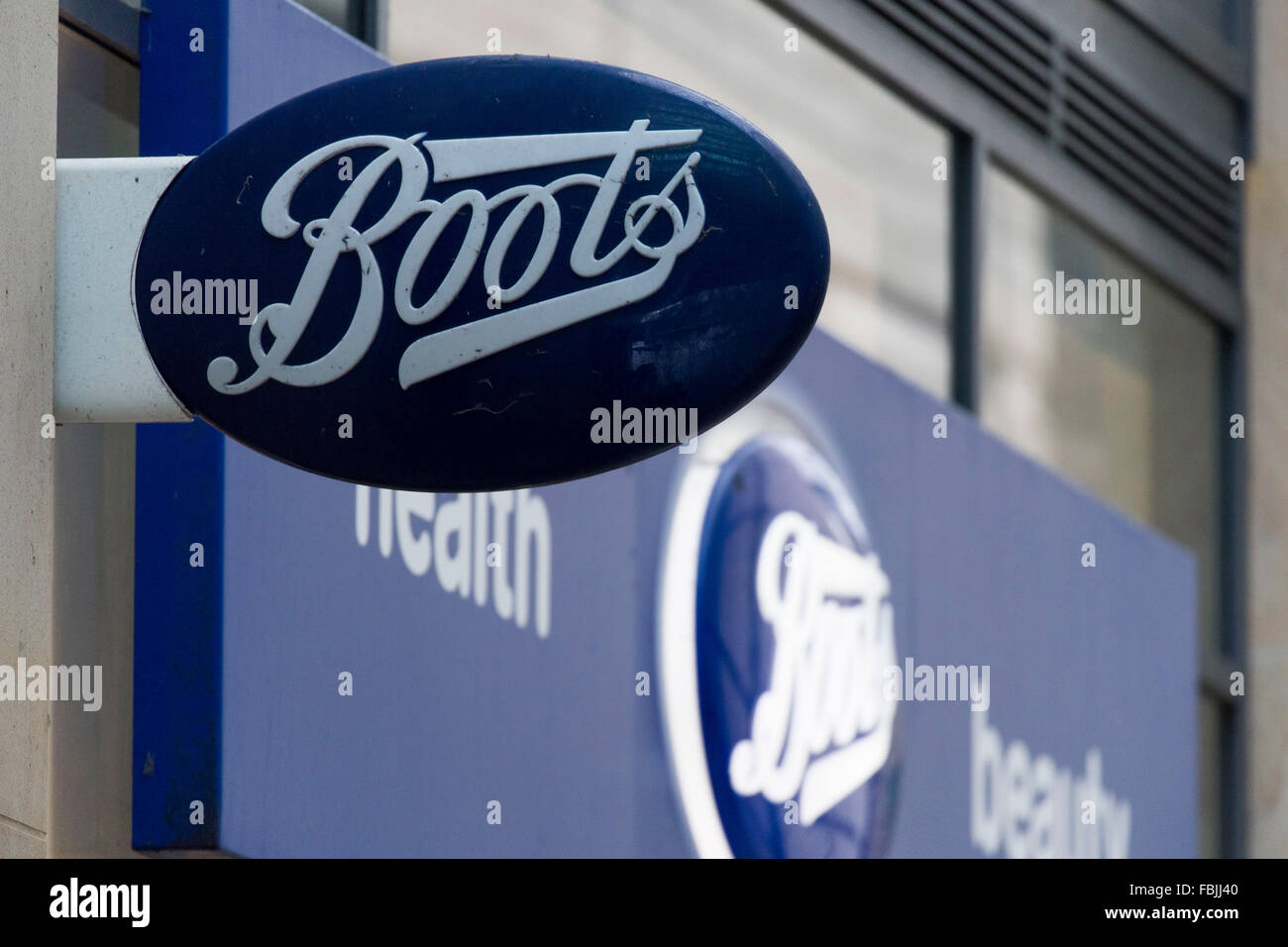 Boots chemist store sign logo high street. Stock Photo
