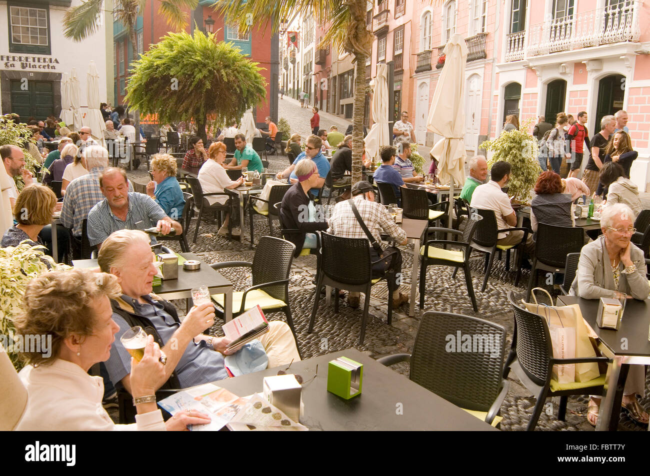 street cafe santa cruz de la palma canary island islands canaries isles sitting outside people tourists tourist Stock Photo
