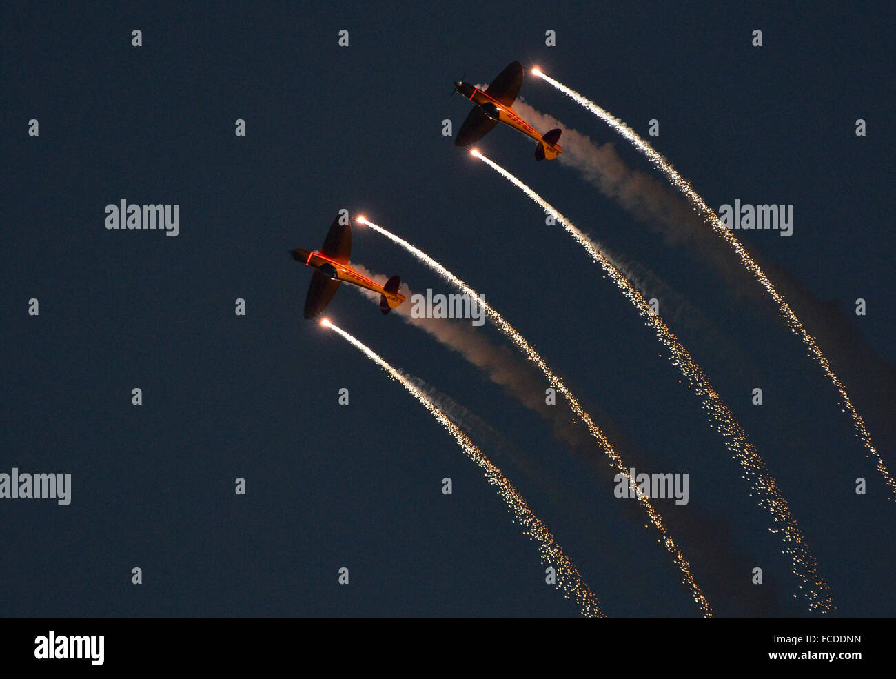 Bahrain Air Show, 21st January 2016. The Twister aerobatic team perform a stunning aerial ballet with pyrotechnics Stock Photo